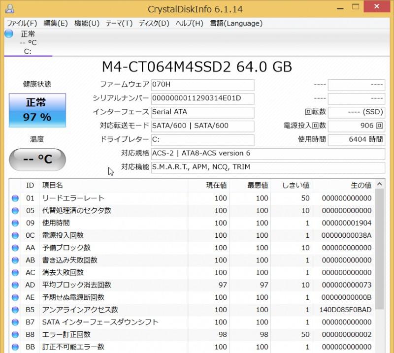 CT064M4SSD2 ディスク状況
