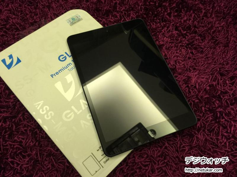 iPad mini 強化ガラス 貼り付け後