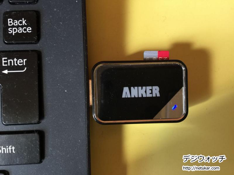 Anker製USB 3.0 SD/TFカードリーダー出っ張り具合